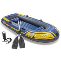 Intex Challenger 3 Set Aufblasbares Boot mit Rudern und Pumpe 68370NP