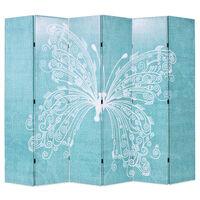 vidaXL Raumteiler klappbar 228 x 170 cm Schmetterling Blau