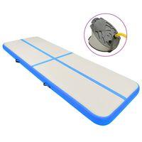 vidaXL Aufblasbare Gymnastikmatte mit Pumpe 400x100x20 cm PVC Blau