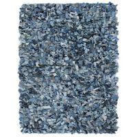 vidaXL Shaggy-Teppich Denim 120 x 170 cm Blau