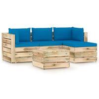 vidaXL 5-tlg. Garten-Lounge-Set mit Kissen Grün Imprägniertes Holz