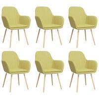 vidaXL Esszimmerstühle mit Armlehnen 6 Stk. Grün Stoff