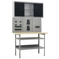vidaXL Werkbank mit 3 Werkzeugwänden und 1 Wandschrank