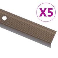 vidaXL Treppenkantenprofil in L-Form 5 Stk. Aluminium 134cm Braun
