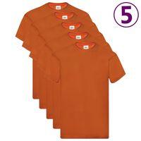 Fruit of the Loom Original T-Shirts 5 Stk. Orange 3XL Baumwolle