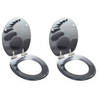 vidaXL Toilettensitze 2 Stk. mit Soft-Close-Deckel MDF Stein-Design