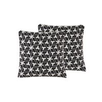 Dekokissen Geometrisches Muster Schwarz / Creme 45 X 45 Cm 2er Set An