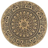 vidaXL Teppich Handgefertigt Jute mit Dunkelblauem Aufdruck 120 cm
