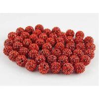 10 Stück 10mm Rote Shamballa Tondiscobälle/ -perlen