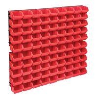 vidaXL 96-tlg. Behälter-Set für Kleinteile mit Wandplatten Rot Schwarz
