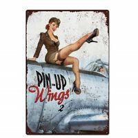 Pin-up-mädchen Zinn Zeichen, Metall Vintage Zeichen Für