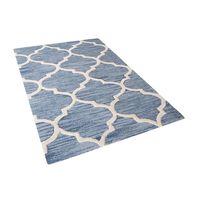 Teppich hellblau 80 x 150 cm marokkanisches Muster Kurzflor YALOVA