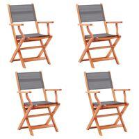 vidaXL Klappbare Gartenstühle 4 Stk. Grau Eukalyptus Massivholz