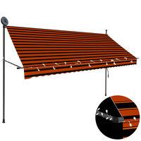 vidaXL Einziehbare Markise Handbetrieben mit LED 300 cm Orange Braun