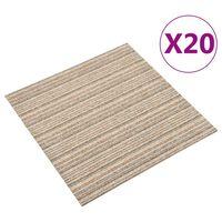 vidaXL Teppichfliesen 20 Stk. 5 m² 50x50 cm Gestreift Beige