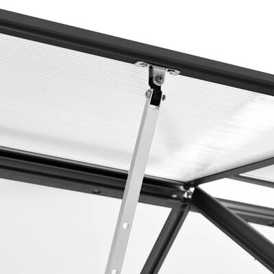 vidaXL Gewächshaus mit Fundamentrahmen Anthrazit Aluminium 5,89 m³