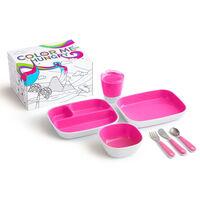 Munchkin 7-tlg. Kinder-Geschirrset Color Me Hungry Rosa