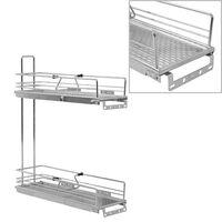 vidaXL 2-stufiger Ausziehbarer Küchen-Drahtkorb Silbern 47x15x54,5 cm