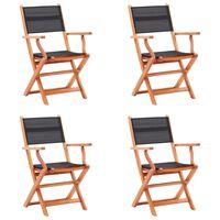 vidaXL Klappbare Gartenstühle 4 Stk. Schwarz Eukalyptus Massivholz