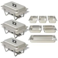 vidaXL Chafing Dish Set 3-tlg. Edelstahl