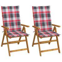 vidaXL Garten-Liegestühle 2 Stk. mit Kissen Akazie Massivholz