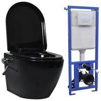 vidaXL Wand-WC ohne Spülrand mit Einbau-Spülkasten Keramik Schwarz