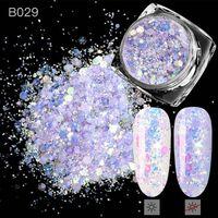 3d gemischte Sechseck 8 Farbe Nagel Staub Sets - Holo Glitter
