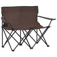 vidaXL Campingstuhl 2-Sitzer Klappbar Stahl und Stoff Taupe
