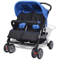 vidaXL Baby Zwillingswagen Stahl Blau und Schwarz