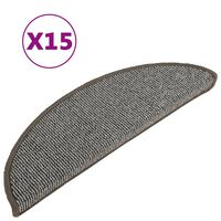 vidaXL Treppenmatten 15 Stk. Grau 56x17x3 cm