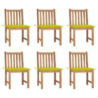 vidaXL Gartenstühle 6 Stk. mit Kissen Massivholz Teak