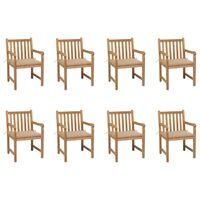 vidaXL Gartenstühle 8 Stk. mit Beigen Kissen Massivholz Teak