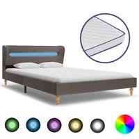 vidaXL Bett mit LED und Memory-Schaum-Matratze Taupe Stoff 120×200 cm