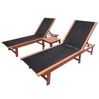vidaXL Sonnenliegen 2 Stk. mit Tisch Akazie Massivholz und Textilene