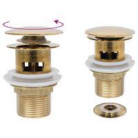 vidaXL Ablaufgarnitur mit Überlauf Golden 6,4x6,4x9,1 cm