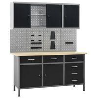 vidaXL Werkbank mit 4 Werkzeugwänden und 2 Wandschränken