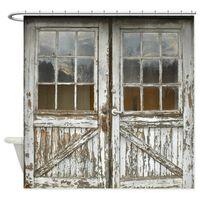 Alte Vintage Holztüren Duschvorhang Matte Dekorative Wasserdichte