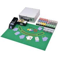 vidaXL Kombiniertes Poker/Blackjack Set mit 600 Laserchips Aluminium