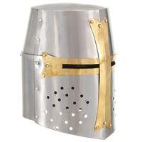 vidaXL Mittelalterlicher Kreuzritter-Helm Antik Replik LARP Silbern Stahl