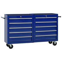 vidaXL Werkzeugwagen mit 10 Schubladen Stahl Blau