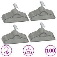 vidaXL 100 Stk. Kleiderbügel-Set Anti-Rutsch Grau Samt