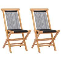 vidaXL Klappbare Gartenstühle 2 Stk. Massivholz Teak und Seil