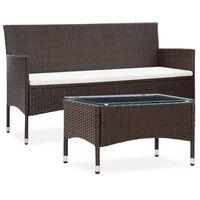 vidaXL 2-tlg. Garten-Lounge-Set mit Auflage Poly Rattan Braun