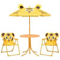 vidaXL 3-tlg. Garten-Bistro-Set für Kinder mit Sonnenschirm Gelb