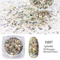 Meerjungfrau Pigmentpulver auf den Nägeln - weiß / silber / gold
