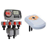 vidaXL Automatische Bewässerungsuhr 4-fach mit Feuchtigkeitssensor 3V
