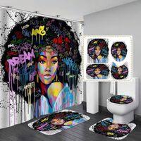 Afroamerikanerinnen Mit Krone Duschvorhang Königin Prinzessin Bad