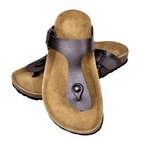 vidaXL Damen Biokork-Sandale im Flip Flop-Design Braun Größe 36