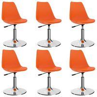 vidaXL Drehbare Esszimmerstühle 6 Stk. Orange Kunstleder