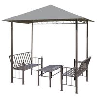 vidaXL Gartenpavillon mit Tisch und Bänken 2,5x1,5x2,4 m Anthrazit